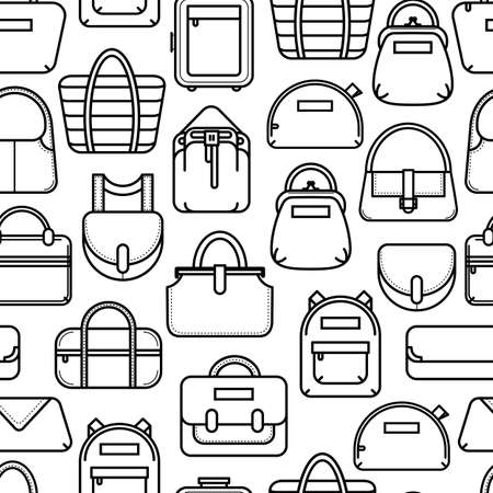 beach wrap: Black and white seamless background with fashion bag line icons, vector illustration isolated on white background. Seamless fashion bag pattern, black on white background, thin line icon style Illustration