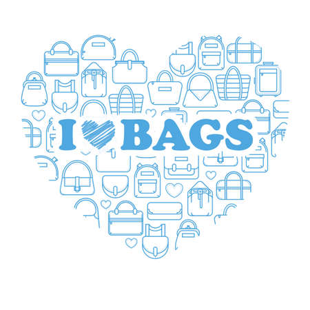i label: I love bags, fashion bag line icons in a heart form, vector illustration isolated on white background. Heart of thin line fashion bag icons with i love bags label
