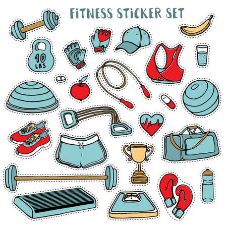 shoe box: Sport and fitness colorful sticker set of hand drawn doodles, vector illustration isolated on white background. Sport clothes, dumbbell, fitball, gloves, scales, step and cup doodle stickers