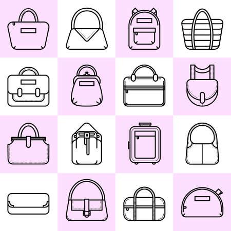 duffle: Set of black and white fashion bag line icons, vector illustration isolated on white background. Set of 16 thin line fashion bag icons on colored squares Illustration