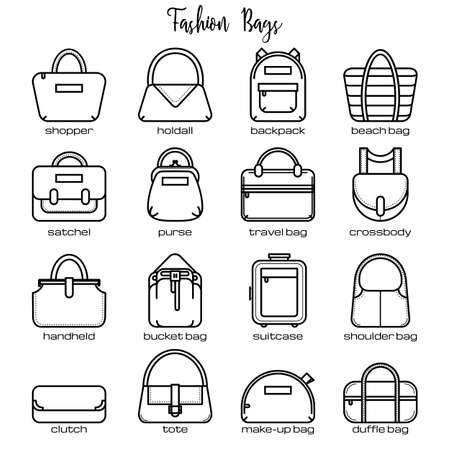 legends: Set of black and white fashion bag line icons, vector illustration isolated on white background. Set of 16 thin line fashion bag icons with legends