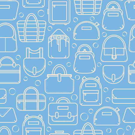 duffle: Two color seamless background with fashion bag line icons, vector illustration isolated on white background. Seamless fashion bag pattern, two colors, thin line icon style