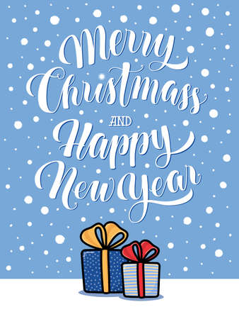 merry christmas and happy new year greeting card stock photo 66467276