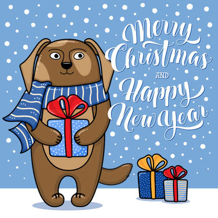 year of the dog: Merry Christmas and Happy New Year greeting card with dog, gifts, snow and lettering, cartoon illustration. Christmas and New Year card, invitation, poster, banner design with a dog