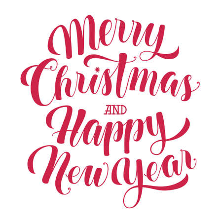text year: Merry Christmas and Happy New Year text, calligraphic illustration isolated on white background. Merry Christmas and Happy New Year lettering, greeting text, design element