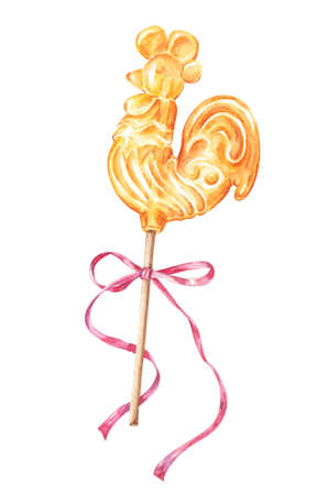 Russian rooster, cockerel shaped lollipop on stick with pink bow, watercolor painting, illustrations isolated on white background. Lollipop in form of rooster, cockerel, chicken, watercolor painting