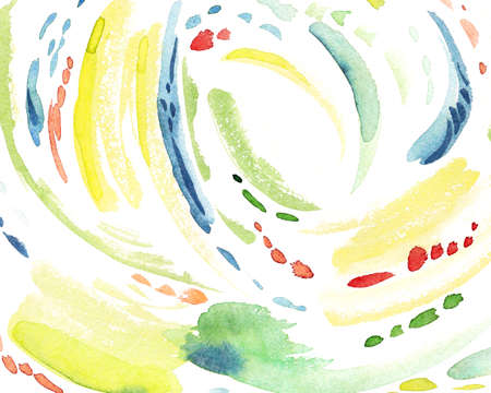 Blue, green, yellow watercolor abstract, hand painted illustration isolated on white background. Abstract background with watercolor stripes and spots, delicate hand drawn print Stock Photo