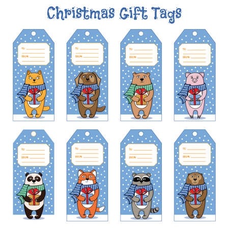 new year cat: Set of gift tags for Christmas and New Year presents with fox, cat, dog, panda, raccoon, pig, bear, monkey, cartoon illustration. Gift tag templates with pets and animals holding presents