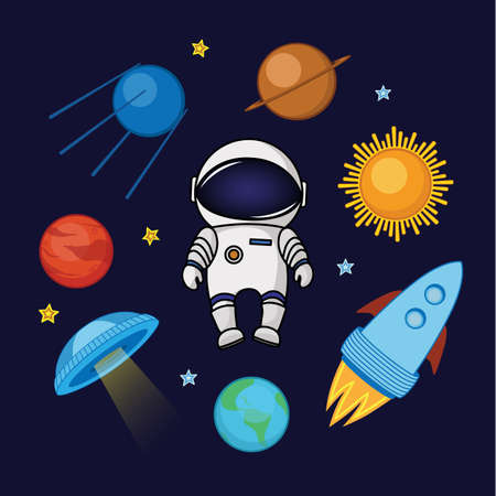 Set of spaceman in space, rocket, satellite, UFO, planets and stars, cartoon vector illustration isolated on dark background. Spaceman, astronaut in space, shuttle, satellite, planets and stars