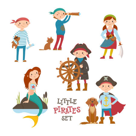 Set of cute little pirate, sailor kids and mermaid, cartoon vector illustration isolated on white background. Kids, children playing, dressed as pirates, birthday party, Halloween, sea adventures
