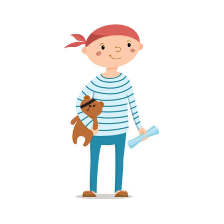 Little boy dressed as sailor holding teddy bear with pirate eye patch and treasure map, cartoon vector illustration isolated on white background. Kid boy pirate in striped sailor shirt with teddy bear