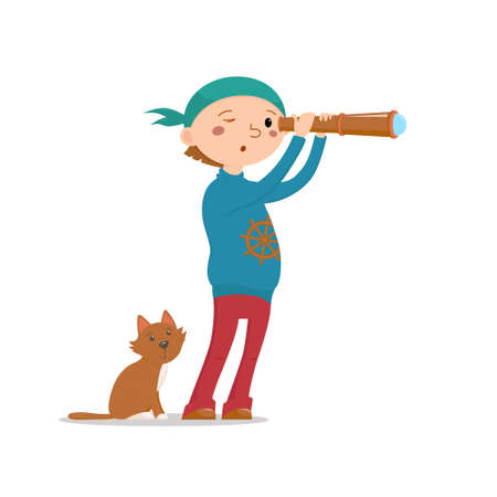 Little boy playing pirates with cat, looking into hand held telescope, spy glass, cartoon vector illustration isolated on white background. Kid boy pirate, sailor with a cat looking into telescope