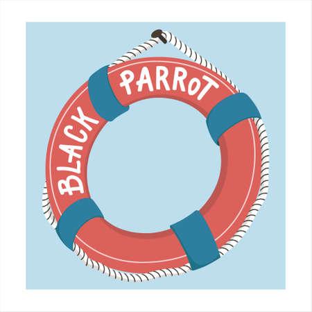 Colorful floatation hoop, lifebuoy ring hanging on pirate ship, cartoon vector illustration isolated on white background. Cartoon style floatation hoop, lifebuoy ring from a pirate ship