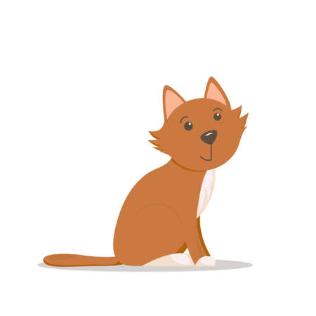Cute, adorable little red cat, kitten sitting, side view cartoon illustration isolated on white background. Cartoon little red cat, kitten character, sitting, looking straight, side view illustration