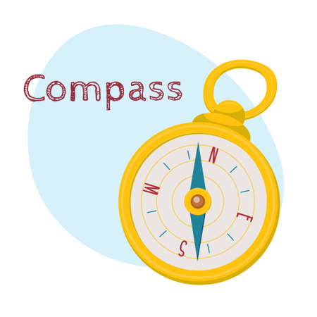 Golden retro style navigational compass with north, south, east, west indications, cartoon vector illustration isolated on white background. Cartoon style navigational compass in golden case  イラスト・ベクター素材