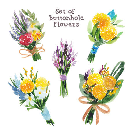 Set of buttonhole bouquets, boutonnieres, summer flowers, hand made watercolor illustration isolated on white background. Little buttonhole bouquets, boutonnieres, summer flowers, decoration elements