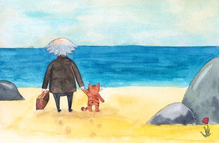 De oude mens met koffer en kat komt aan overzees, oceaanstrand, bevindt zich en bekijkt het water en de hemel, de illustratie van het waterverfbeeldverhaal. Aquarel foto van oude man, kat en zee, buiten het seizoen uitstapje naar het strand Stockfoto - 83607131