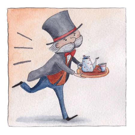 five o'clock: Old English butler in livery hurrying to serve five o-clock tea, postcard, greeting card design, watercolor illustration. Five o-clock tea, funny English butler running with teapot and cup Stock Photo