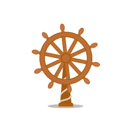 Ship, sailboat steering wheel, cartoon isolated on white background. Cartoon, comic style of traditional wooden ship, sailboat steering wheel on stand