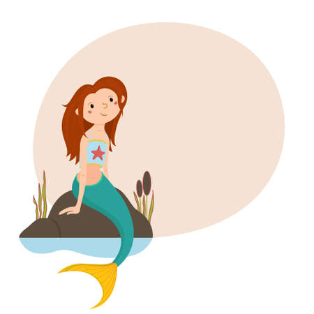 Little cute red haired mermaid sitting on rocks.