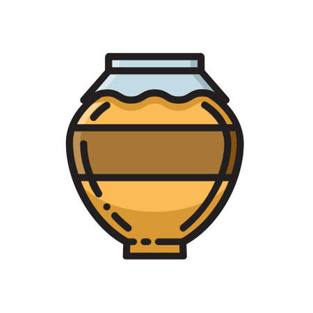 Clay honey pot, thin line flat style icon, vector illustration isolated on white background. Flat style beekeeping icon with clay honey pot