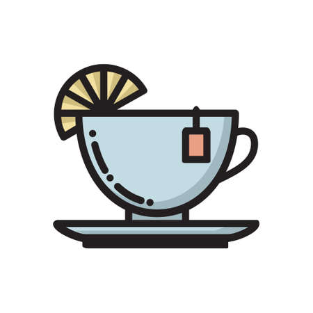 Tea cup and saucer with slice of lemon and teabag label, thin line flat icon, vector illustration isolated on white background. Flat style thin line icon of burning black tea cup with slice of lemon