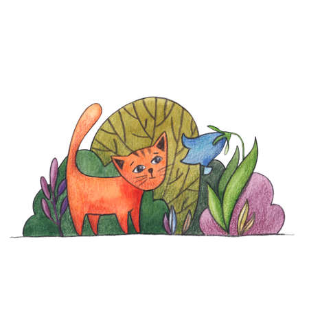 Little red cat, kitten meets bluebell flower in summer garden, watercolor cartoon illustration isolated on white background. Hand drawn watercolor picture of little cat and big flower in summer garden