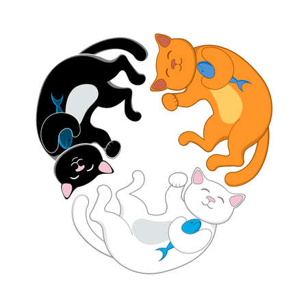 Logo, emblem with three cats, black, red and white, forming a circle, isolated cartoon vector illustration. Illustration