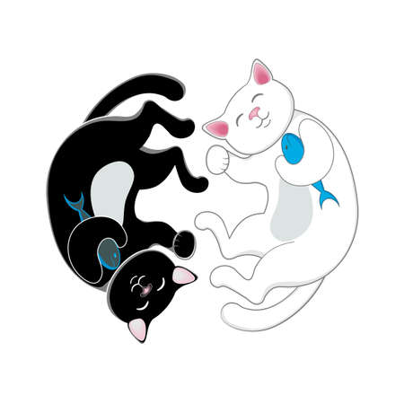 antipode: Logo, emblem with two cats, black and white, forming a circle, isolated cartoon vector illustration. Two cute, funny cats forming a circle, duality concept, attraction of opposites