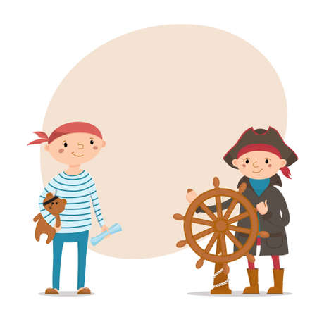 costume eye patch: Two little boys dressed as sailors, pirates with steering wheel, teddy bear and place for text, cartoon vector illustration isolated on white background. Kids, boys dressed as pirates, sailors
