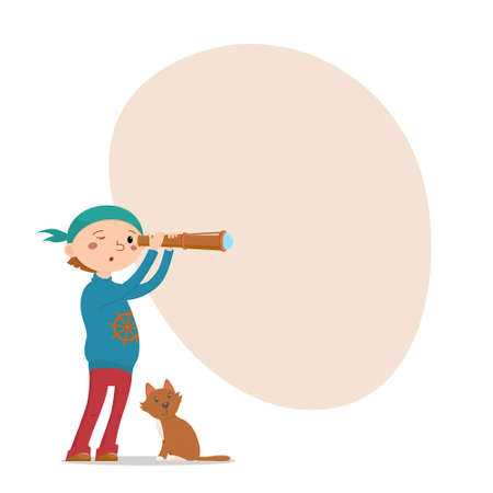 Little boy playing pirates with his cat, looking into spy glass and place for text, cartoon vector illustration isolated on white background. Kid boy pirate, sailor with a cat looking into telescope