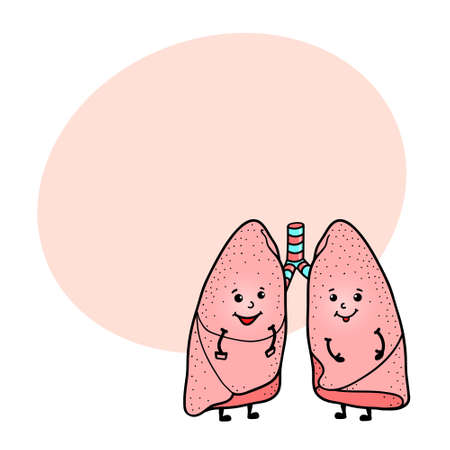 humor: Cute and funny lungs character with human face and round space for text, cartoon vector illustration isolated on white background. Healthy smiling lungs character with human face