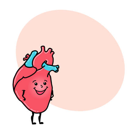 Cute and funny heart character with human face and round space for text, cartoon vector illustration isolated on white background. Healthy smiling heart character with human face Stock Photo