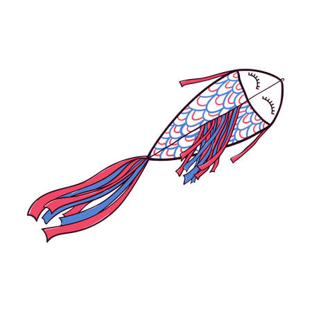 Hand drawn doodle, sketch style fish shaped kite flying in the sky with ribbon fin and tale, vector illustration isolated on white background. Sketch, doodle style fish kite, hand drawn illustration Illustration