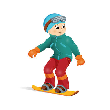 Happy boy in warm clothes snowboarding downhill, winter sport activity, retro style cartoon vector illustration isolated on white background. Happy boy snowboard, winter vacation, outdoor activity