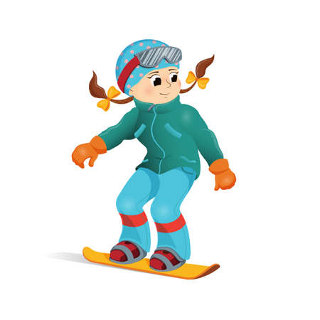 Happy girl in warm clothes snowboarding downhill, winter sport activity, cartoon vector Happy girl snowboard, winter vacation, Illustration