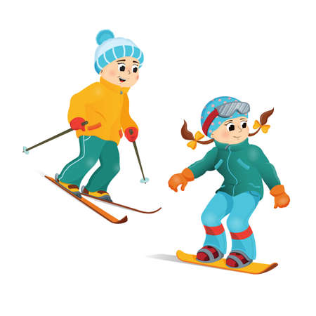 Happy, smiling boy in warm clothes skiing downhill, winter sport activity, retro style cartoon vector illustration isolated on white background. Happy boy skiing, winter vacation, outdoor activity Illustration