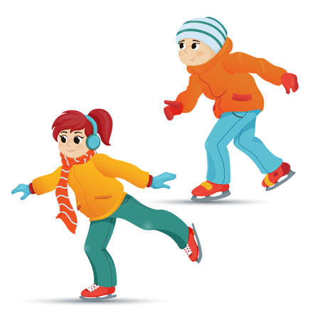 Teenage boy and girl ice skating, winter sport activity, retro cartoon vector illustration isolated on white background. Two friends, boy and girl, ice skating, winter vacation, outdoor activity Illustration