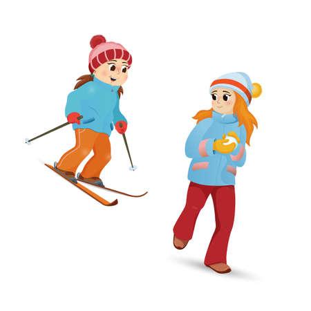 Two teenage girls skiing and playing snowballs Illustration