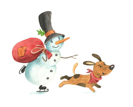 Watercolor snowman and funny dog, puppy characters Stock Photo