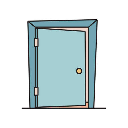 Flat cartoon icon with slightly open, ajar door