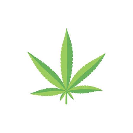 Flat style fresh green cannabis, marijuana leaf  イラスト・ベクター素材