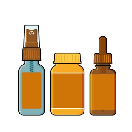 Spray, tincture bottle and opaque plastic jar Illustration