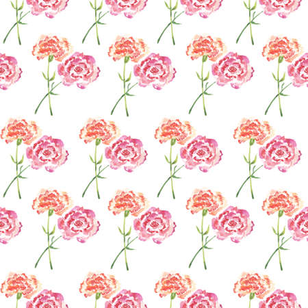 Seamless pattern, pairs of watercolor carnations