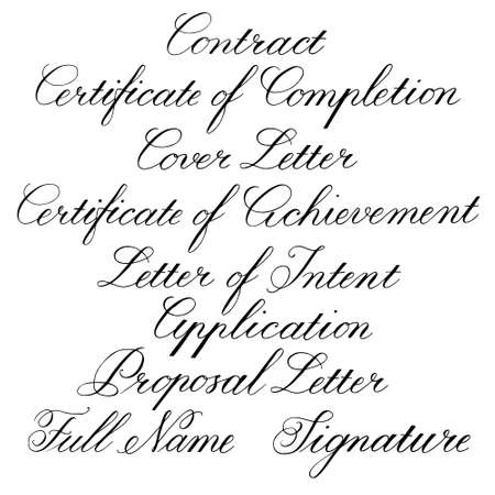 Handwritten calligraphic taglines for business documents. Vector illustration on white background Standard-Bild - 103071302