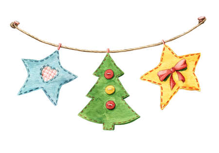christmas ornament garland with patchwork stars fir tree flags decorated with ribbons and buttons - Decorative Christmas Flags