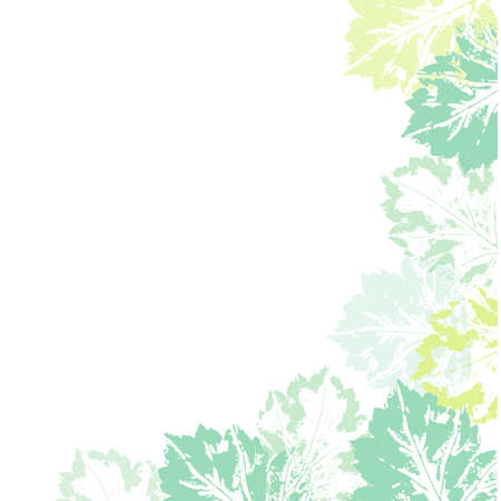 Banner template with corner decoration element made of natural leaf prints, vector illustration isolated on white background. Banner decorated with hand printed prints of spring summer leaves Illustration