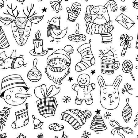 Seamless pattern with cute Christmas doodles - Santa, deer, snowman, dog and bunny, objects, decorations, vector illustration on white background. Chrismas doodle seamless pattern, backdrop design