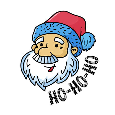 Cute Merry Christmas greeting card with santa clause and scandinavian style ho-ho-ho text, vector illustration isolated on white background. Merry Christmas greeting card with funny santa clause