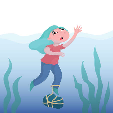 Scared girl, woman drowning in deep water with heavy rock tied to foot, crying for help, depression, mental problem concept, flat vector illustration. Girl drowning in deep water, crying for help